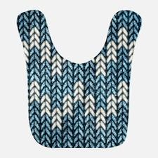 Blue Knit Graphic Pattern Bib