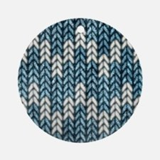 Blue Knit Graphic Pattern Ornament (Round)
