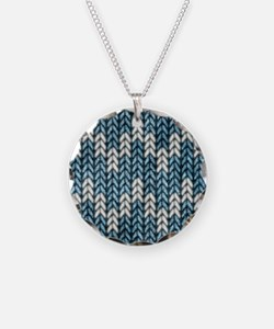 Blue Knit Graphic Pattern Necklace