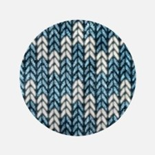 """Blue Knit Graphic Pattern 3.5"""" Button"""
