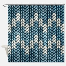 Blue Knit Graphic Pattern Shower Curtain