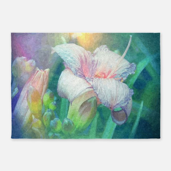pastel lilies oil painting 5'x7'Area Rug