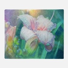 pastel lilies oil painting Throw Blanket