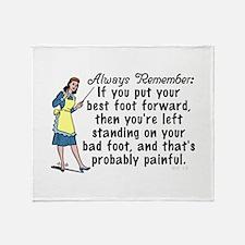 Funny Retro Best Foot Demotivational Throw Blanket