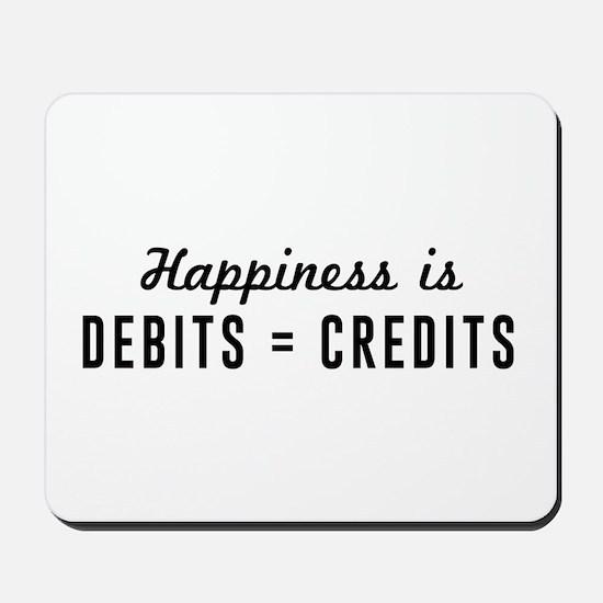 Happiness is debits credits Mousepad