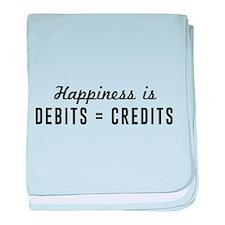 Happiness is debits credits baby blanket