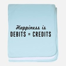 Happiness is debits credits baby blanket