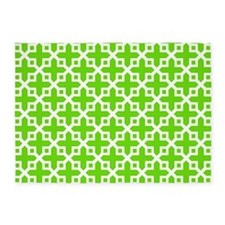 Cross Section Pattern Green and Whi 5'x7'Area Rug