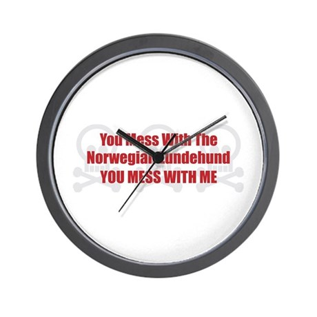Mess With Lundehund Wall Clock