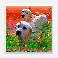 Golden Labrador Retrievers Tile Coaster