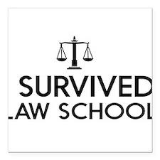 "I survived law school Square Car Magnet 3"" x 3"""