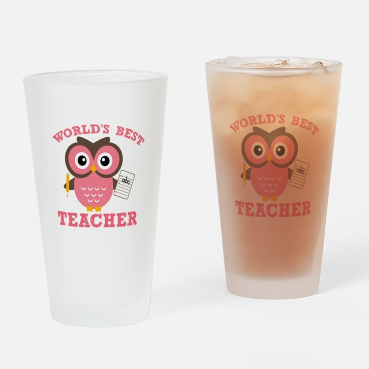 World's Best Teacher (Pink) Drinking Glass