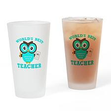 World's Best Teacher (Blue) Drinking Glass