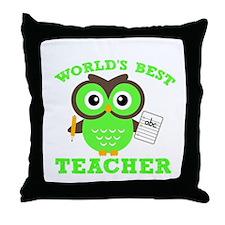 World's Best Teacher (Green) Throw Pillow