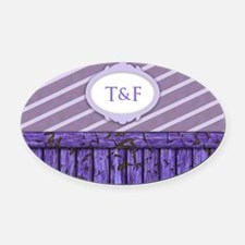 Maritime Monogram Purple Oval Car Magnet
