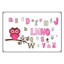 Owl and Alphabet (pink) Banner