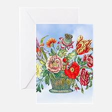 18th C M S Merian Flower Basket Greeting Cards