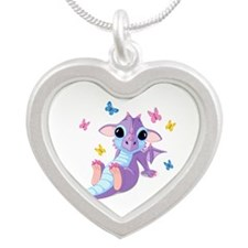 Baby Dragon - Silver Heart Necklace