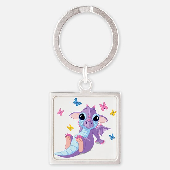 Baby Dragon - Square Keychain