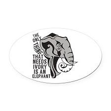Save Elephants Oval Car Magnet