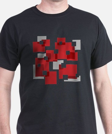 Red and Gray Design T-Shirt