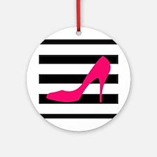 Hot Pink Heel on Black White Ornament (Round)