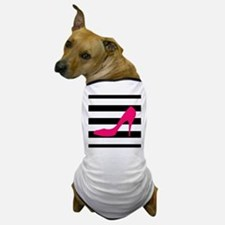 Hot Pink Heel on Black White Dog T-Shirt