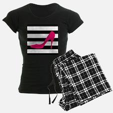 Hot Pink Heel on Black White Pajamas