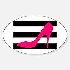 Hot Pink Heel on Black White Decal
