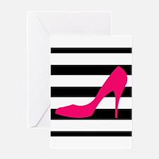 Hot Pink Heel on Black White Greeting Cards
