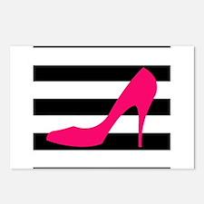 Hot Pink Heel on Black White Postcards (Package of