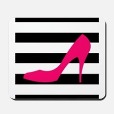 Hot Pink Heel on Black White Mousepad