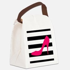 Hot Pink Heel on Black White Canvas Lunch Bag