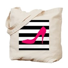 Hot Pink Heel on Black White Tote Bag