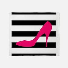 Hot Pink Heel on Black White Throw Blanket