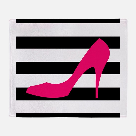 Hot Pink Heel on Black White Throw Blanket