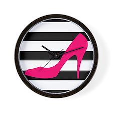 Hot Pink Heel on Black White Wall Clock