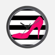 Hot Pink Heel on Black White Wall Clock