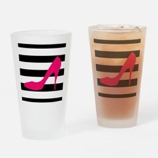 Hot Pink Heel on Black White Drinking Glass