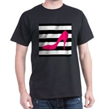 Hot Pink Heel on Black White T-Shirt