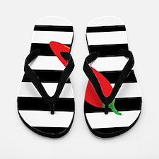 Chili Pepper on Stripes Flip Flops