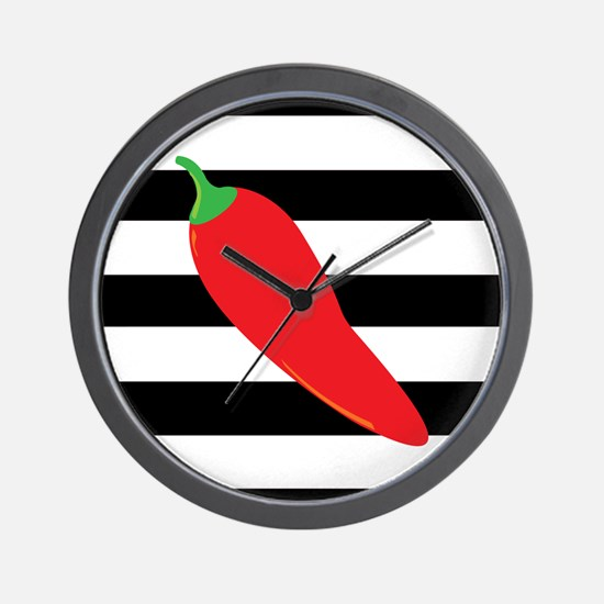 Chili Pepper on Stripes Wall Clock