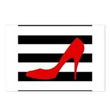 Red High Heel on Stripes Postcards (Package of 8)