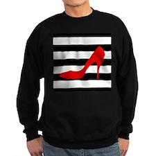 Red High Heel on Stripes Sweatshirt