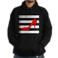 Red High Heel on Stripes Hoodie