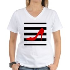 Red High Heel on Stripes T-Shirt