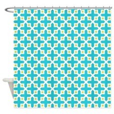 Cross Section Pattern Turquoise and Shower Curtain