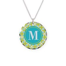 Monogram Cross Pattern Lime and Turquoise Necklace