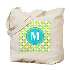 Monogram Cross Pattern Lime and Turquoise Tote Bag