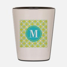 Monogram Cross Pattern Lime and Turquoise Shot Gla